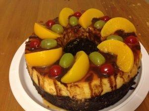 chocoflan con frutas