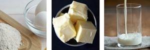 harina, mantequilla y leche